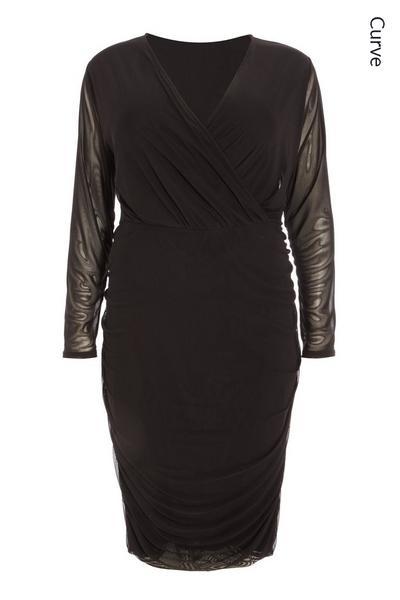 Curve Black Mesh Wrap Midi Dress